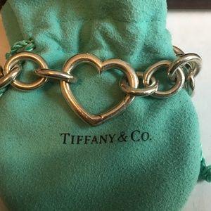 """Tiffany & Co SS 925 Open Heart Clasp 7.5"""" Bracelet"""